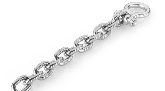 Stainless steel M8 chain shackle, incl. chain