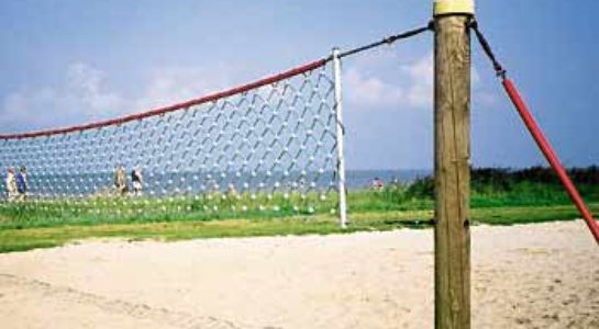 Volleyball net at a beach