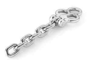 Stainless steel 3-eyelet shackle, including M10 cross bolts